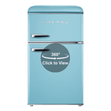 Galanz 3.1 Cu Ft Retro Dual Door Refrigerator in Bebop Blue