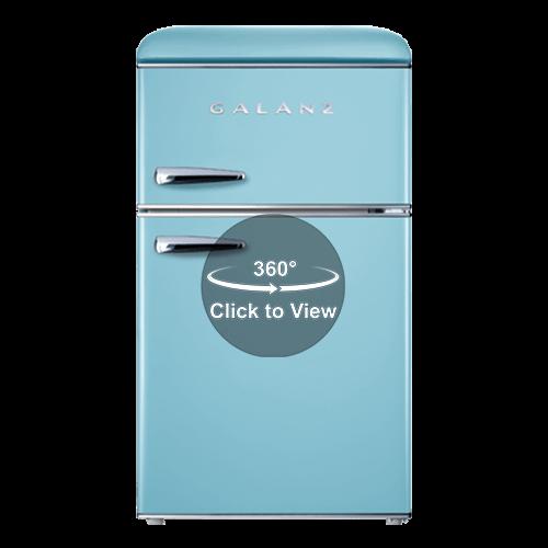 Galanz - Galanz 3.1 Cu Ft Retro Dual Door Refrigerator in Bebop Blue