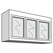 "See Details - Variable Bridge Top Unit, 3 Glass Doors, 1 Adjustable Shelf, 12""d, 48""w "" 54""w"
