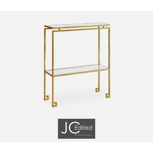 Gilded iron small narrow console table