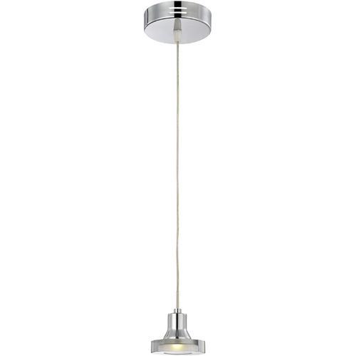 LED Pendant Lamp, Chrome/clear Glass Shade, Type LED 3wx1