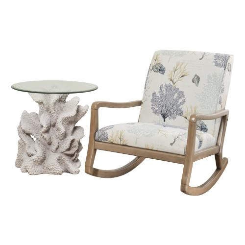 Coastal Upholstery Fabric Accent Rocking Chair, Natural and Off White