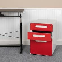 Ergonomic 3-Drawer Mobile Locking Filing Cabinet with Anti-Tilt Mechanism & Letter\/Legal Drawer, White with Red Faceplate