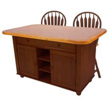 See Details - Kitchen Island Set - Nutmeg w/Light-Oak Trim & Terracotta Rose Tile Top (3 Piece)