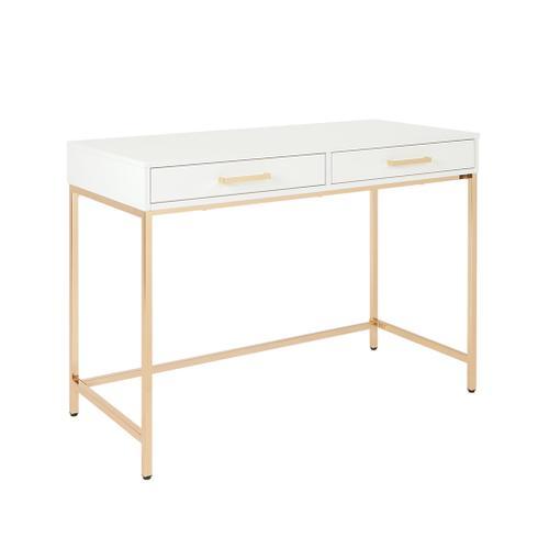 Alios Desk White With Gold Frame