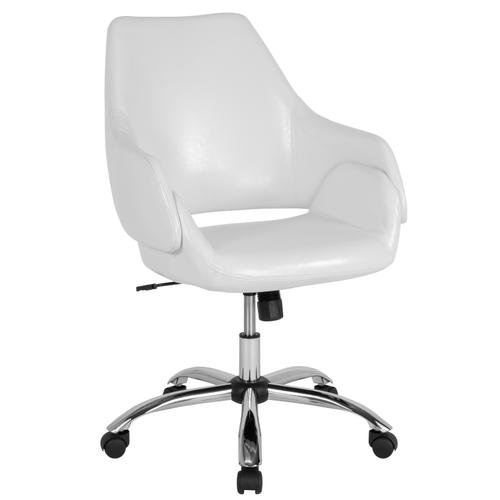 Gallery - Madrid Home and Office Upholstered Mid-Back Chair in White LeatherSoft