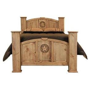 L.M.T. Rustic and Western Imports - Queen Mansion Bed W/Star