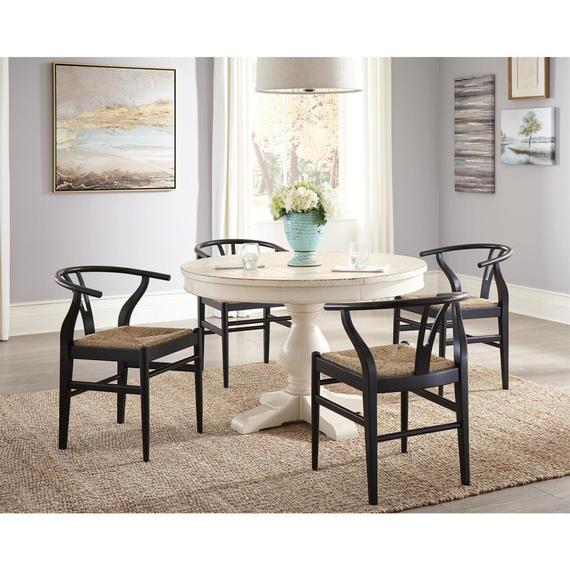 Riverside - Aberdeen - Round Dining Table Pedestal - Weathered Worn White Finish
