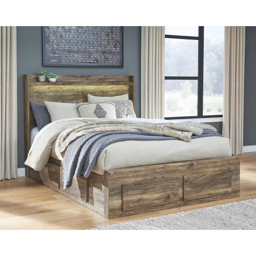 Rusthaven Queen Panel Bed With 6 Storage Drawers
