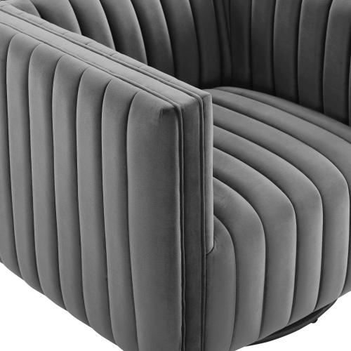 Modway - Conjure Channel Tufted Performance Velvet Swivel Armchair in Gray