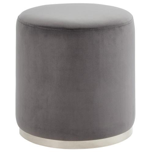 Opus Round Ottoman in Grey/Silver