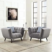 Bestow 2 Piece Performance Velvet Armchair Set in Gray