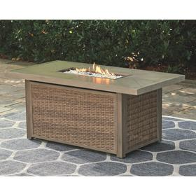 Beachcroft Rectangular Fire Pit Table Beige