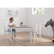 Gateway Table & 2 Chair Set - Bianca White with Grey (166)