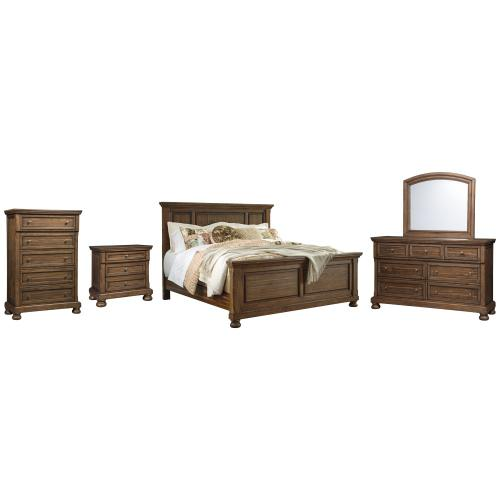 King Panel Bed With Mirrored Dresser, Chest and Nightstand