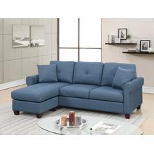 Faizel 2pc Sectional Sofa Set, Blue Glossy