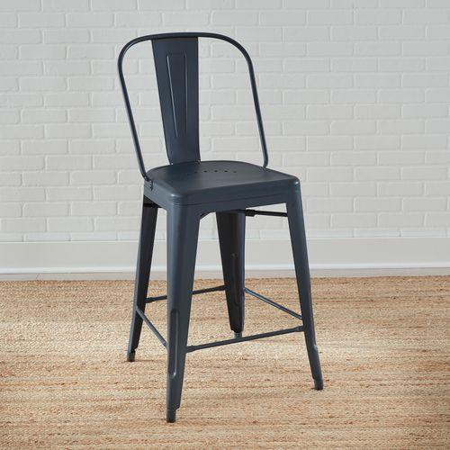 Bow Back Counter Chair- Navy