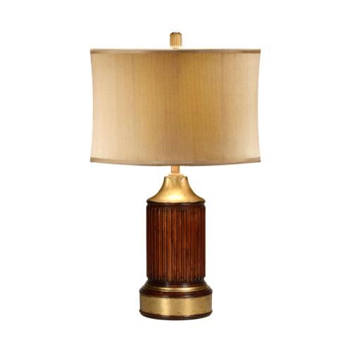 Round fluted mahogany table lamp