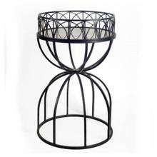 Jordan 24L x 18W Black Hour-Glass Mirrored Top W/Iron Base Accent Table