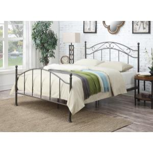 King Scrolled Metal Bed in Antiqued Brown