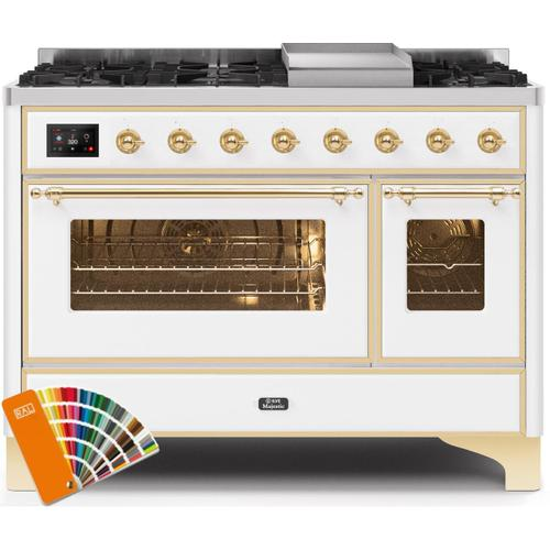Majestic II 48 Inch Dual Fuel Liquid Propane Freestanding Range in Custom RAL Color with Brass Trim
