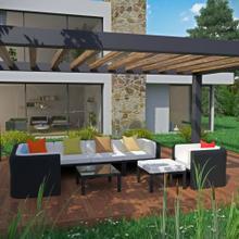 Bonaire 9 Piece Outdoor Patio Sectional Set in Espresso Multicolor