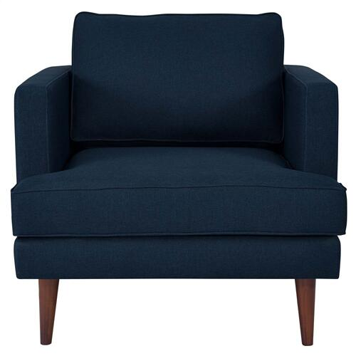 Agile Upholstered Fabric Armchair in Blue