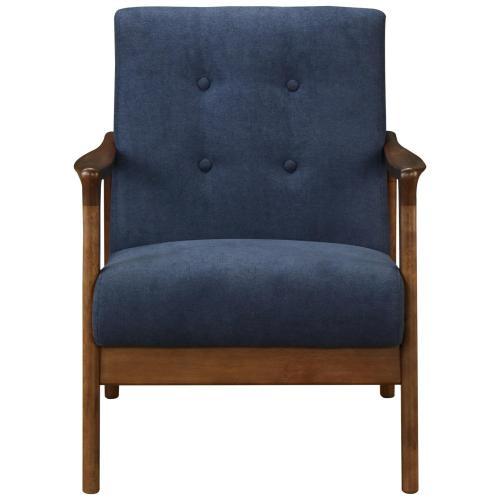 Nicholas KD Accent Arm Chair Dark Walnut Frame, Studio Dark Blue