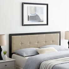 Teagan Tufted Queen Headboard in Black Beige