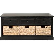 See Details - Damien 3 Drawer Storage Bench - Distressed Black