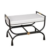 "Metal 18""h Bench W/ Arch Legs, White/antique"