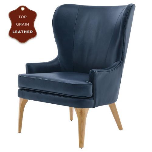 Product Image - Bjorn KD Top Grain Leather Accent Chair, Garrett Blue