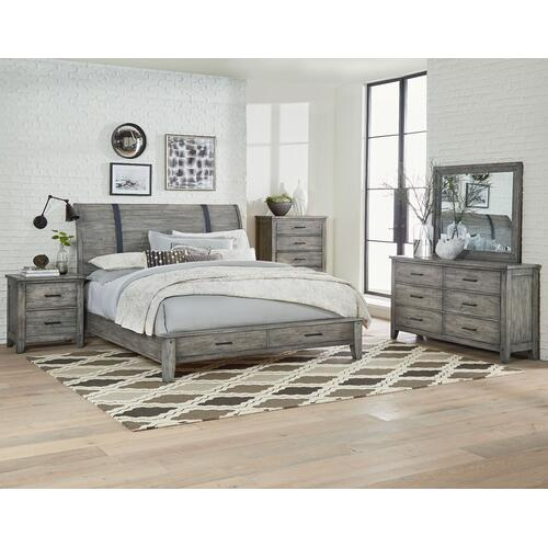 Nelson Grey 2-Drawer Nightstand, Weathered Grey