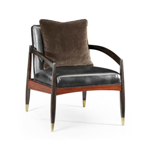 Contemporary Santos Rosewood & Ebonised Occasional Chair, Upholstered in Mont Blanc Midnight Leather