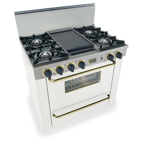"""Five Star - 36"""" All Gas Range, Open Burners, White with Brass"""