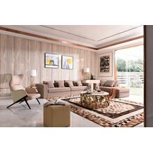 Divani Casa Euclid Modern Taupe Bonded Leather & Gold Large Sofa