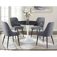 Colfax 5 Piece White Base/Black Marble Top Dining(Table & 4 Side Chairs)