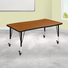 "Mobile 28""W x 47.5""L Rectangular Wave Collaborative Oak Thermal Laminate Activity Table - Height Adjustable Short Legs"