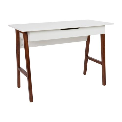 Gallery - Home Office Writing Computer Desk with Drawer - Table Desk for Writing and Work, White\/Walnut