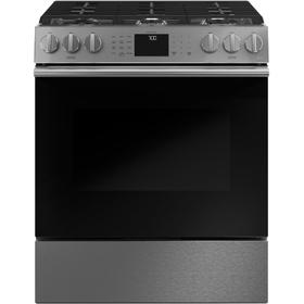"""Café 30"""" Smart Slide-In, Front-Control, Gas Range with Convection Oven in Platinum Glass"""