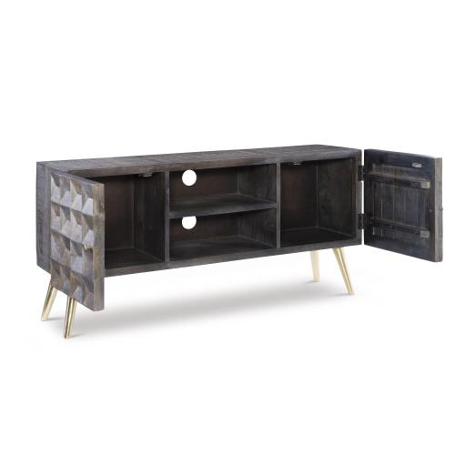 2-door and 2-drawer Media Cabinet, Smokey Grey and Gold
