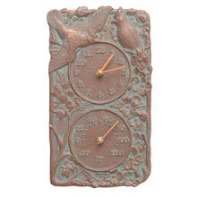 See Details - Cardinal Indoor Outdoor Wall Clock & Thermometer - Copper Vedigris