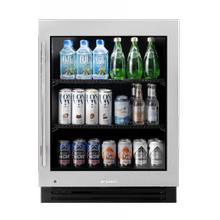 24 Inch Stainless Glass Door Right Hinge ADA Height Undercounter Refrigerator