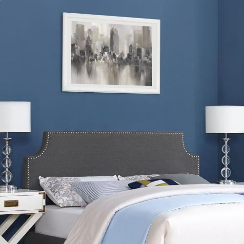 Laura King Upholstered Fabric Headboard in Gray