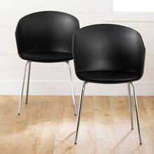 Dining Chair with Metal Legs - Set of 2 - Black and Silver