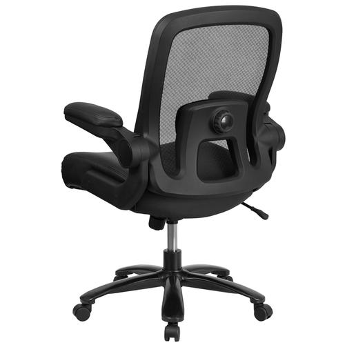 Gallery - HERCULES Series Big & Tall 500 lb. Rated Black Mesh\/LeatherSoft Executive Ergonomic Office Chair with Adjustable Lumbar