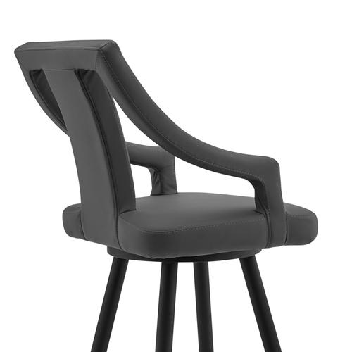 """Maxen 30"""" Gray Faux Leather and Black Metal Swivel Bar Stool"""