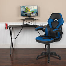 Black Gaming Desk and Blue\/Black Racing Chair Set with Cup Holder, Headphone Hook, and Monitor\/Smartphone Stand