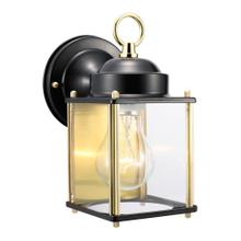 Coach Polished Brass and Black Outdoor Wall-Mount Downlight Sconce #502658