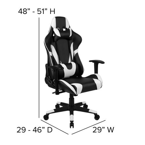 Gallery - Black Gaming Desk and Black Reclining Gaming Chair Set with Cup Holder, Headphone Hook, and Monitor\/Smartphone Stand